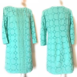 Maggy L crochet dress, long sleeve, Sz 6, aqua